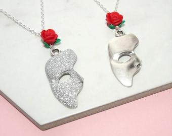 Phantom Of The Opera Necklace - Phantom Of The Opera Jewelry - Glitter Sparkle Or Non-Sparkly - Phantom Mask Pendant - Musical Theatre