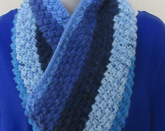 Blue Infinity Scarf, Crocheted Scarf, Cold Weather Accessory