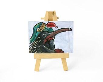 Echidna Art, Original ACEO, Animal Painting, Anteater Gift, Wildlife Artwork, Bicorn Hat, Pirate Decor, Wild Animal, Home Decor