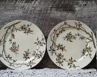 IRONSTONE Brown DINNER PLATES Set of 2 P B u0026 S Tokio Oriental Pattern Bamboo 10 1/2  England Large Dinner or Charger Wall Decor & Oriental dinner set | Etsy