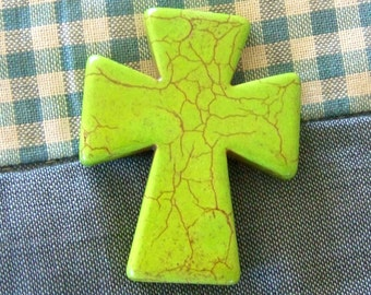 Cross Large Lime Green Howlite Cross Pendant , Frame, Backpack, Keychain, Craft and Jewelry Supply