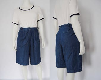 1970s denim culottes, vintage wide leg shorts -- dark denim, high waisted, front pleats, gaucho, jean shorts women, 1970s 70s clothing