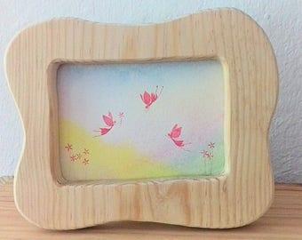 Wooden reversible postcard frame / Waldorf wooden postcard frame / Waldorf Nature Table / Home Decor /MADE TO ORDER