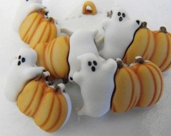 6 Ghost and Pumpkin Shank Buttons