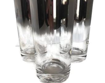 Vintage Silver Ombre Barware Glasses, Silver Tumblers, Set of 3 Drinking Glasses, Mid Century Modern Barware, MCM Glassware,
