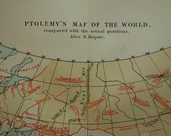 Antique ptolemy map etsy ptolemys world map 1883 original old antique print worldmap of ptolemy antiquity ptolemaeus vintage world maps gumiabroncs Choice Image