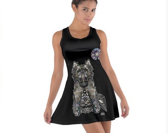 "Dire Wolf, (all-over print) ""COTTON"" Racerback Dress"