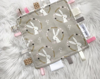 Baby girl bunny taggy blanket. Security blanket. Baby taggy.baby gift.sensory blanket. Baby toy. Ribbon tags.minky back.gifts for baby.