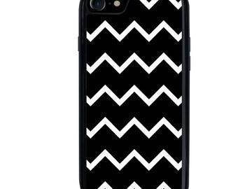 Chevron Phone Case, iPhone 5 5s 6 6s 6+ 6s+ SE 7 7+ iPod 5 6 Phone Case, Black Chevron Design, Plus