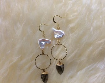 Pearl and labradorite dangles