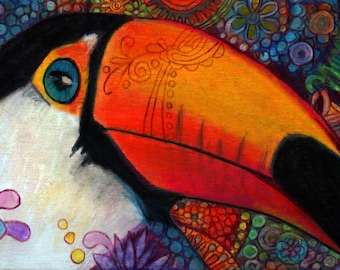 greeting card print of original art-toucan Zentangle