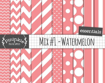 Watermelon Digital Paper, Pastel Scrapbook Paper, Patterned Papers, Pink, Red, Instant Download