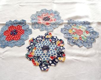 4 Hand Pieced Antique Quilt Blocks 1920s 1930s  Grandmothers Flower Garden