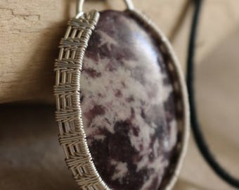 Lepidolite pendant wrapped in non-tarnish silver plated wire with adjustable necklace
