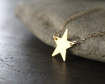 Cassiopeia Raw Brass Star on Gold-Filled Chain Necklace - Gold Star Necklace - Stargazer