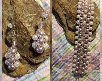 Formal Glass Peral Bracelet & Earrings