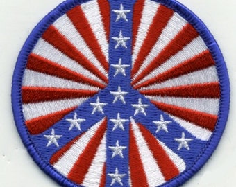 1960s-70s Hippie Peace Movement  STARS and STRIPES Patch 3 inch