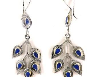 Earrings Silver Lapis Insets Afghanistan 104130