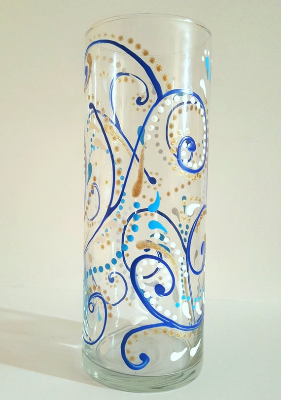 Blue Sparkly Swirls Hand Painted Glass Vase Decorated Vase