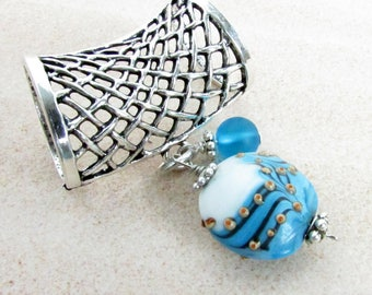 Scarf Pendant - Slide for Scarf - Scarf Jewelry - Scarf Ornament - Scarf Accessories - Scarf Necklace - Blue Scarf Slide - Scarf Adornment