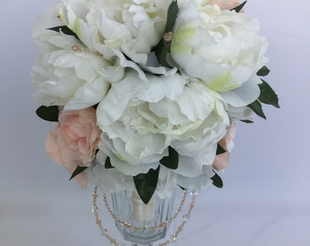 Bridal Wedding Silk Flower and Austrian Swarovski Crystal Bouquet