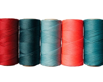 Macrame Cord - Waxed Cord - Micro Macrame -Linhasita - Set of 5 Colors - 10 meters each color - CORAL