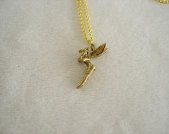 Vintage Estate Goldtone Fairy Pendant Necklace
