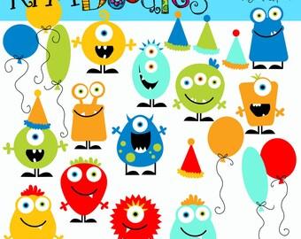 KPM Basic Birthday Monsters digital clipart