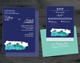 Puerto Rico Wedding Invitation Set - San Juan Destination Wedding