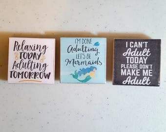 Adulting 2x2 inch magnets, mermaid too, set of 3.