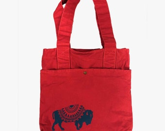 Red Commuter Bag with Blue Buffalo Print