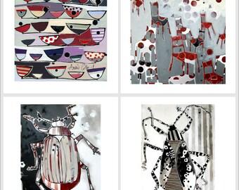 Lot de 19 cartes postales : reproductions d'oeuvres de l'artiste peintre française Anaïs Colin