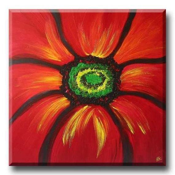 """Red sexy flower acrylic painting - Pout 20""""x20"""" Yin Lum (art commission)"""