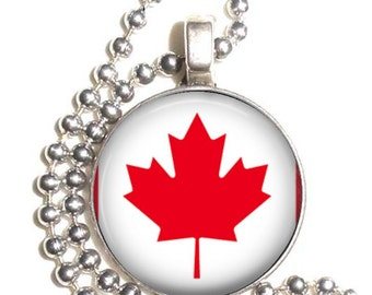 Canada Flag Art Pendant, Earrings and/or Keychain, Round Photo Silver and Resin Charm Jewelry, Flag Earrings, Flag Key Fob
