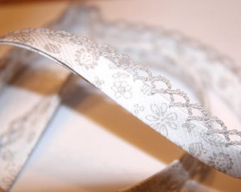 BIAS BABY POLYCOTTON 12MM DECORATED SILVER LACE
