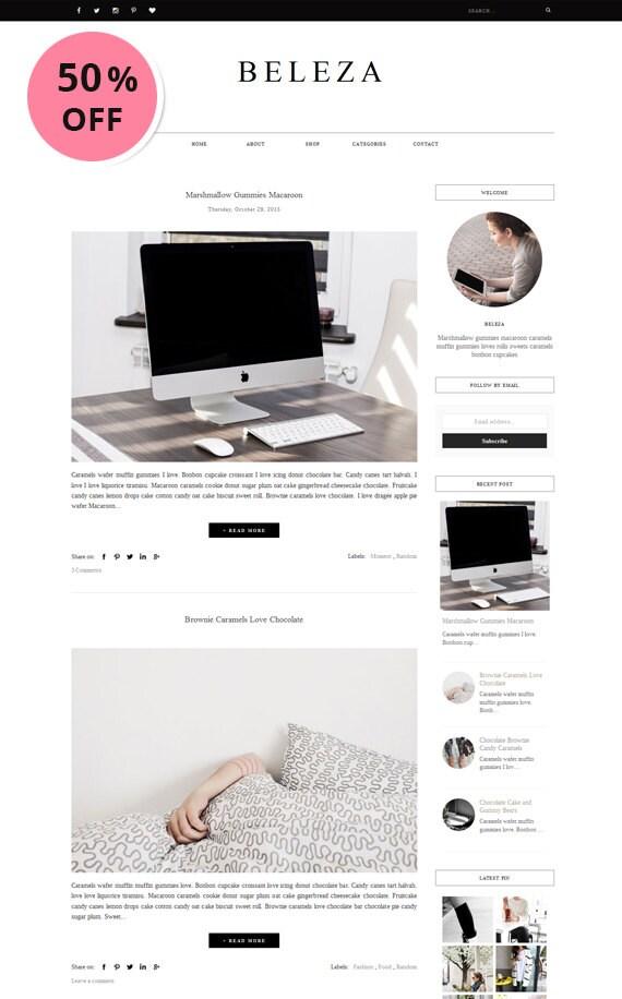 Responsives vorgefertigten Blogger-Template minimalistischen