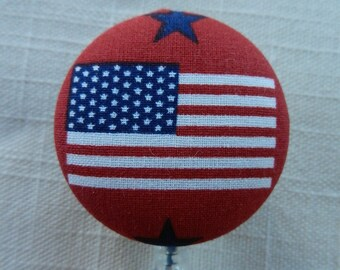 US Flag ~ Retractable ID Name Badge Holder Reel