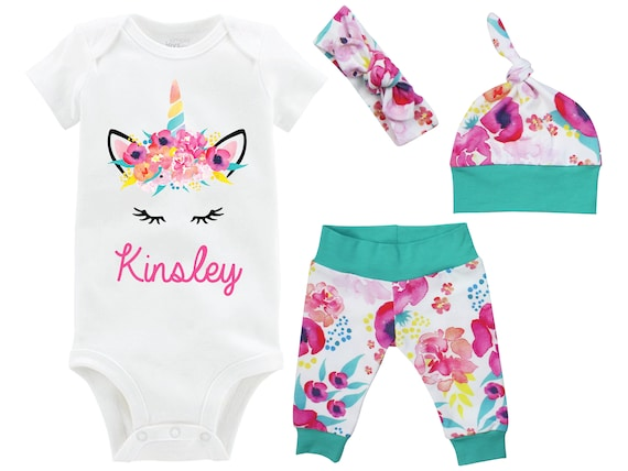 Unicorn Face Going Home Outfit Newborn Baby Onesie Infant Set Watercolor Floral Unicorn Yoga Leggings Top Knot Hat Headband Tropical Onesie