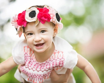 Pink Felt Floral Crown- Baby Flower Crown- Newborn Photo Prop- First Birthday Crown- Pink and Gold Headband- Renaissance Crown- Baby Crown