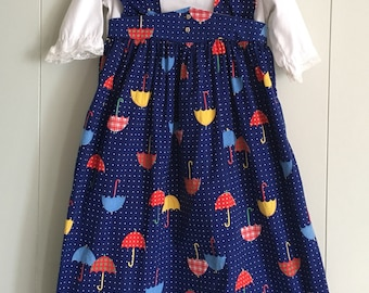 Vintage 1960s 1970s Girls Umbrella Print Pinafore Maxi Dress size 4