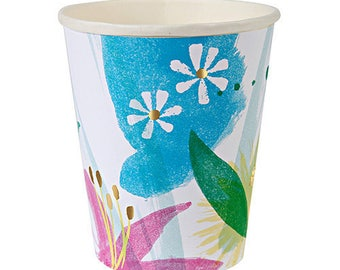 Painted Flowers Paper cups | Floral Bridal Shower | Mothers Day | Easter Party | Floral Baby Shower | Party Cups | Disposable Paper Cups