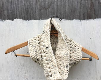 OOAK Cowl in Ivory Tweed | Cozy | Unique Crochet Scarf