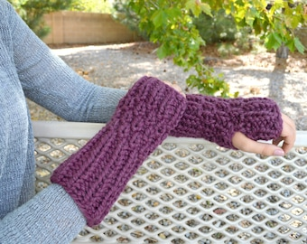 Chunky Knit Arm Warmer Fingerless Gloves Mittens Wrist Warmers | The Rocklands