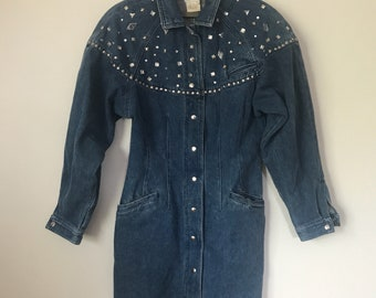 Vintage VTG Eighties 1980s 80s Southwestern Country Denim Studded Dress 6