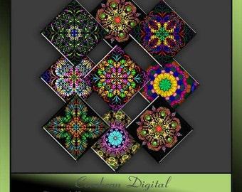 Carnival Kaleidoscope inspired square tile Collage sheet.