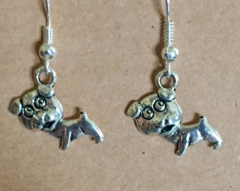 Puppy Charm Earring Set/ Silver Tone/Dogs/ Fish Hook Earring Wires