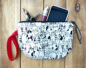 Cat gifts, cat clutch, cat zipper pouch, cat wristlet pouch, cat japanese pouch, cat wallet, cat iphone wallet, cat purse, cat bag, pouch
