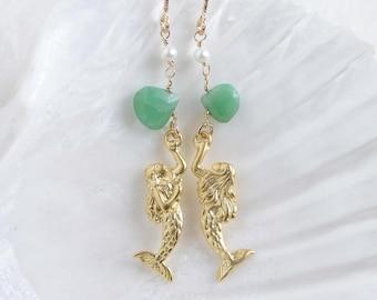 Mermaid Earrings ~ Matte Gold Mermaid with Chrysoprase & Pearl ~  Gemsotne Earrings ~ Beach Wedding ~ Bridesmaid Gift ~ Gift for Her