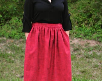 Handmade Midi Skirt with pockets