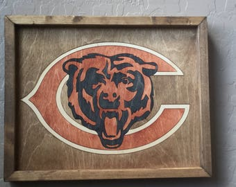 Chicago Bears Wooden Inlay Wall Art